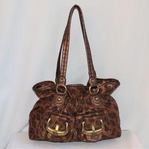 Kathy Van Zeeland Bronze Crackle Leopard Bag